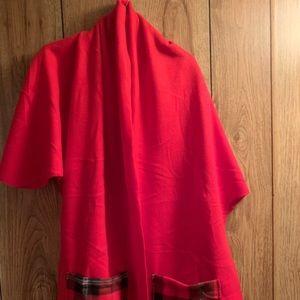 Handmade, new, fleece scarf/shawl/wrap. Red
